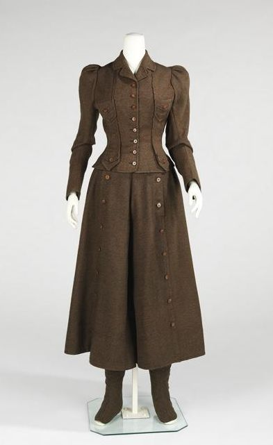 I would happily wear this late Victorian cycling suit, (c.1896-1898) any day of the year.
