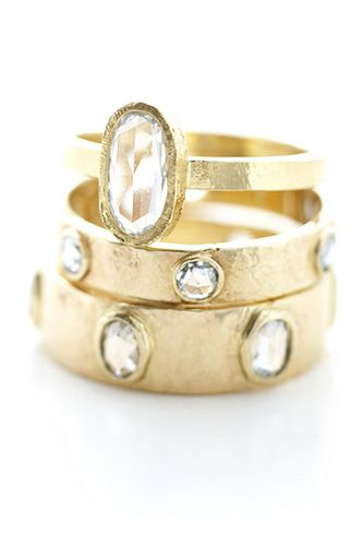 really in to hammered/raw looking metals. love this even if it is yellow gold.