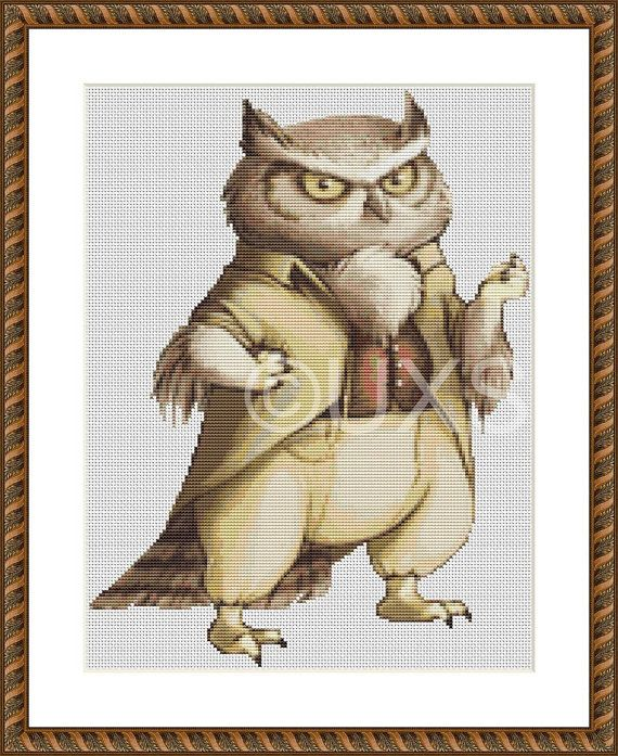 Sylvan the Great Horned Owl modern counted by UnconventionalX, $15.00