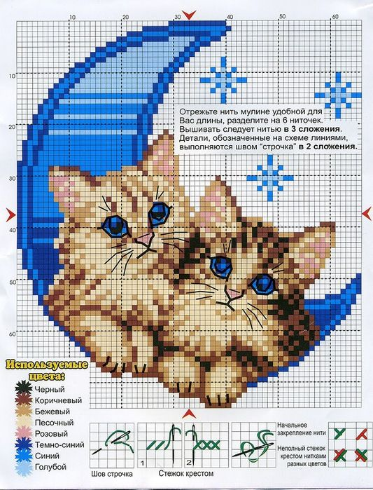 <3 Cross-stitch Kitties & Moon ... no color chart available, just use pattern chart as your color guide.. or choose your own colors...