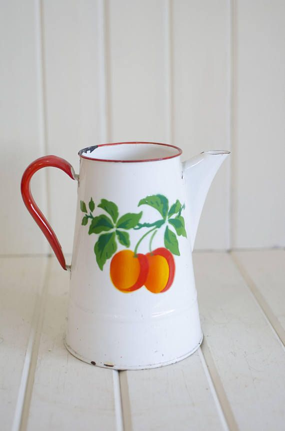 Vintage EnamelWare Pitcher, white pitcher, flower pitcher, flower vase, primitive farmhouse pitcher, decorative flower vase, peaches