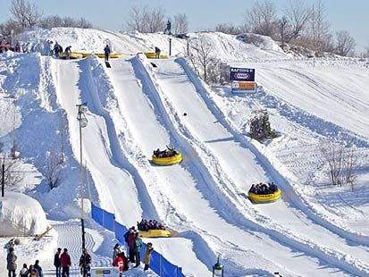Tubing at the Quebec Winter Carnival.. such a rush!