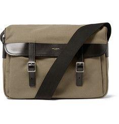 Saint LaurentLeather-Trimmed Canvas Messenger Bag
