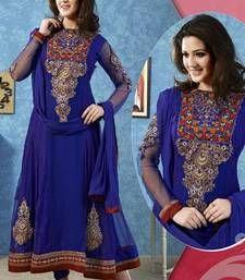 Buy Blue color embroidered semi stitched designer anarkali suit semi-stitched-salwar-suit online