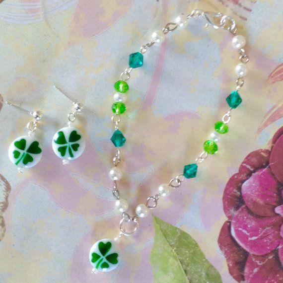 Glück der irischen vier-Blatt Klee Halskette von BFFandMEJewelry