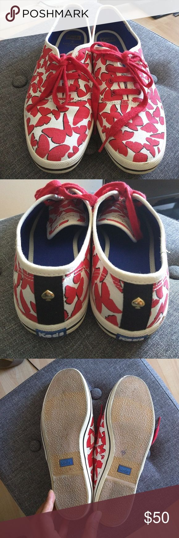 Kate Spade sneakers 9 Pretty red and white butterfly pattern Kate Spade sneakers.  Little wear on soles. Little smudges at toe front of sneakers. Perfect for summer! Sorry, no trade. Make an offer, ya never know!. kate spade Shoes Sneakers