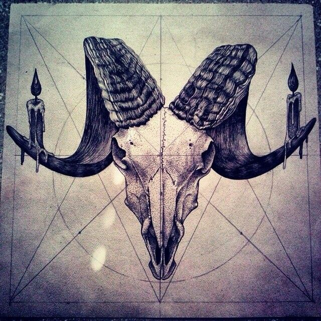 curlier horns & maybe a pentagram in the background                                                                                                                                                                                 More