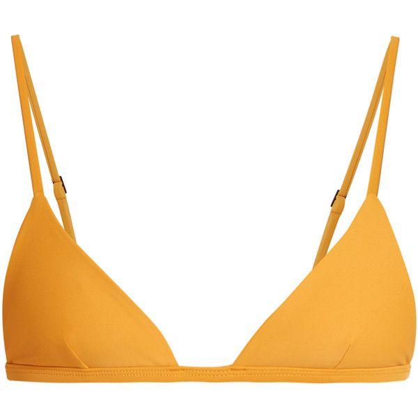Matteau The Petite Triangle bikini top ($91) ❤ liked on Polyvore featuring swimwear, bikinis, bikini tops, swim suit tops, triangle bikini top, triangle swim top, triangle swimwear and tankini tops