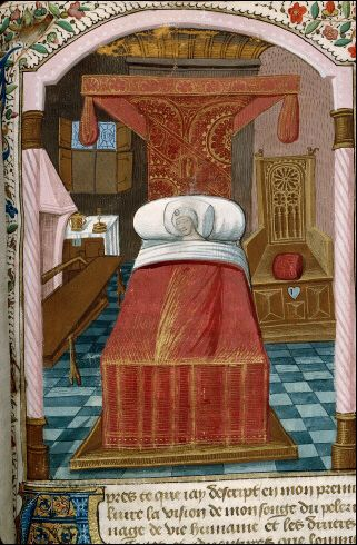 Fancy pattern on the bed hangings. 15thc