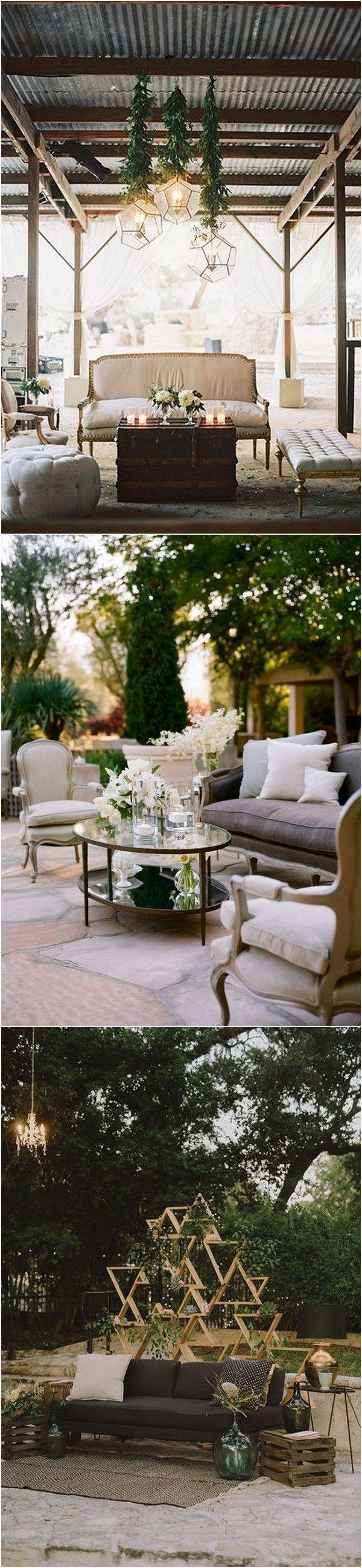 Rustic Chic Wedding Reception Lounge Area Ideas #wedding #weddingideas #weddingdecor
