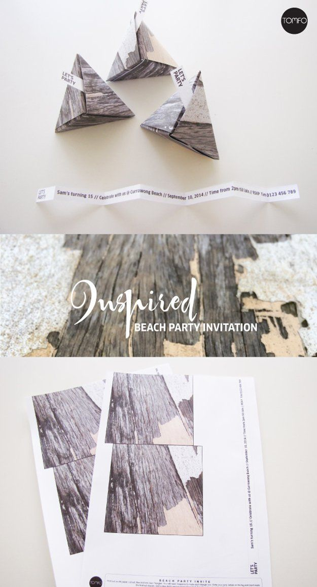 DIY 3D Triangle Beach Party Invitation | DIY Beach Party Ideas For Your Beach-Themed Celebration