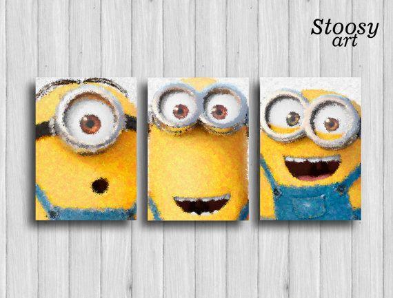 minion poster set of 3: stuart kevin and bob nursery by Stoosyart