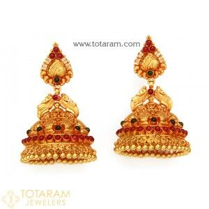 Temple Jewellery Earrings - Jhumkas in 22K Gold - Made in India Indian Gold Jewelry in 22K Gold from Totaram Jewelers Online jewelry store
