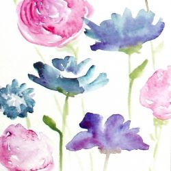 how to create watercolor flowers in step-by-step tutorial.
