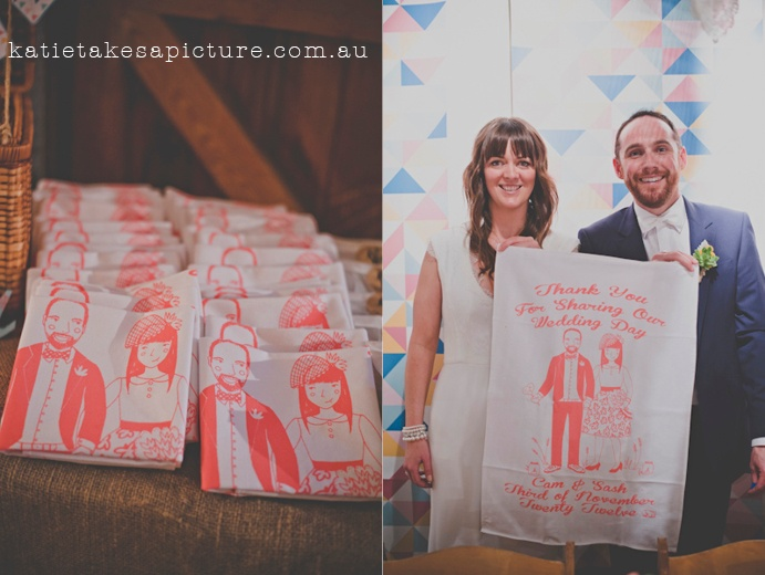 Thank You Tea Towels Cam and Sasha's Wedding  Photo by http://www.katietakesapicture.com.au