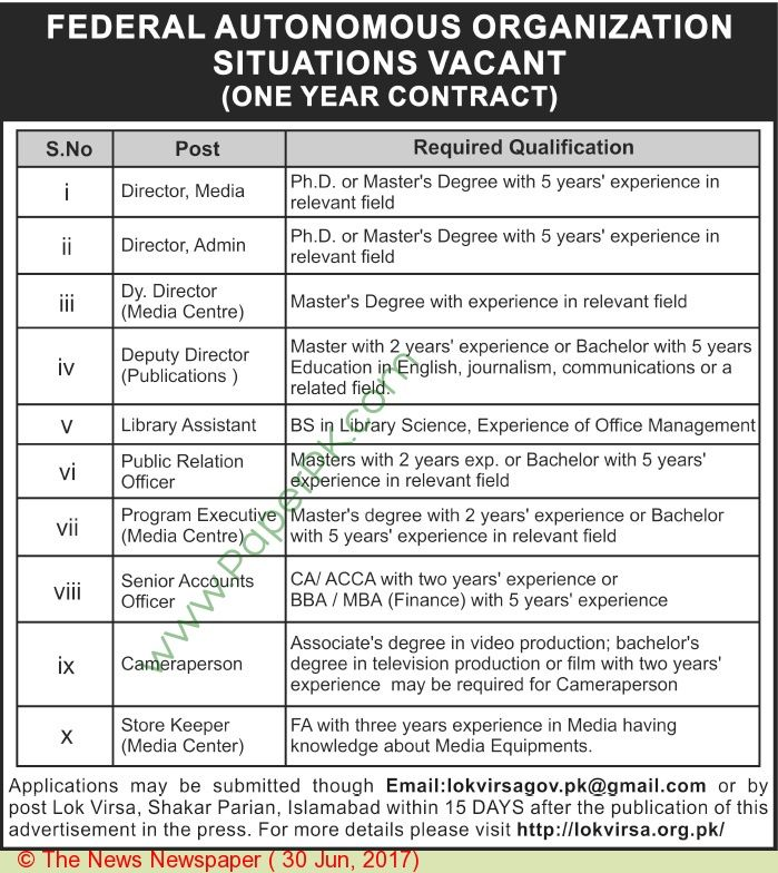 Federal Autonmous Organization Islamabad Jobs     ===== - > -> -> Posted on:  30 June, 2017 Federal Autonmous Organization Islamabad Jobs For Director Media Qualification:-Candidates should be at least Ph.   #Advertisements #careers #Employment #Federal Autonmous Organization Islamabad Jobs #Islamabad #Jobs #Karachi #Lahore #Pakistan #paperpk #The News #vacancy