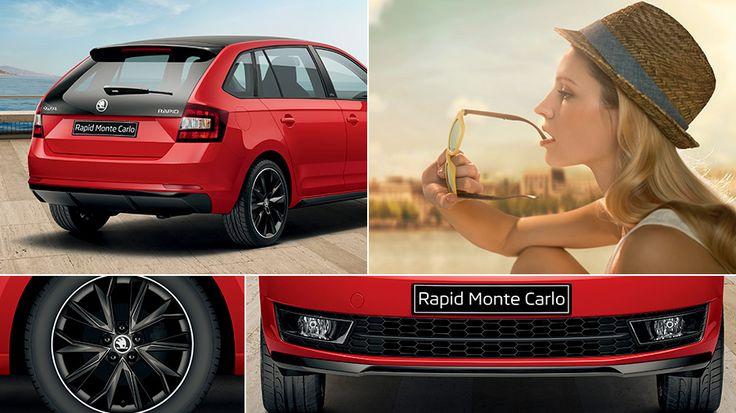 Czerń to styl, elegancja i tajemniczość. Elementy karoserii w tym kolorze – przedni grill, lusterka zewnętrzne, felgi i panoramiczne okno dachowe wykonane z przyciemnianego szkła – świetnie się ze sobą łączą, jeszcze bardziej podkreślając charakter, jaki drzemie w tym samochodzie. Przyciemniane boczne szyby z tyłu dodają autu dynamiczności. Wersja Monte Carlo to czarny koń wśród modeli ŠKODY.