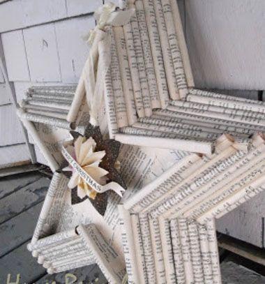 Christmas star from vintage book pages // Csillag alakú karácsonyi dekoráció újságpapírból // Mindy - craft & DIY tutorial collection