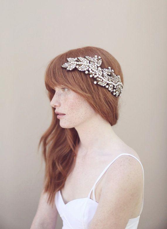 Crystal wedding headpiece hair wrap headband  Antique by myrakim, $510.00