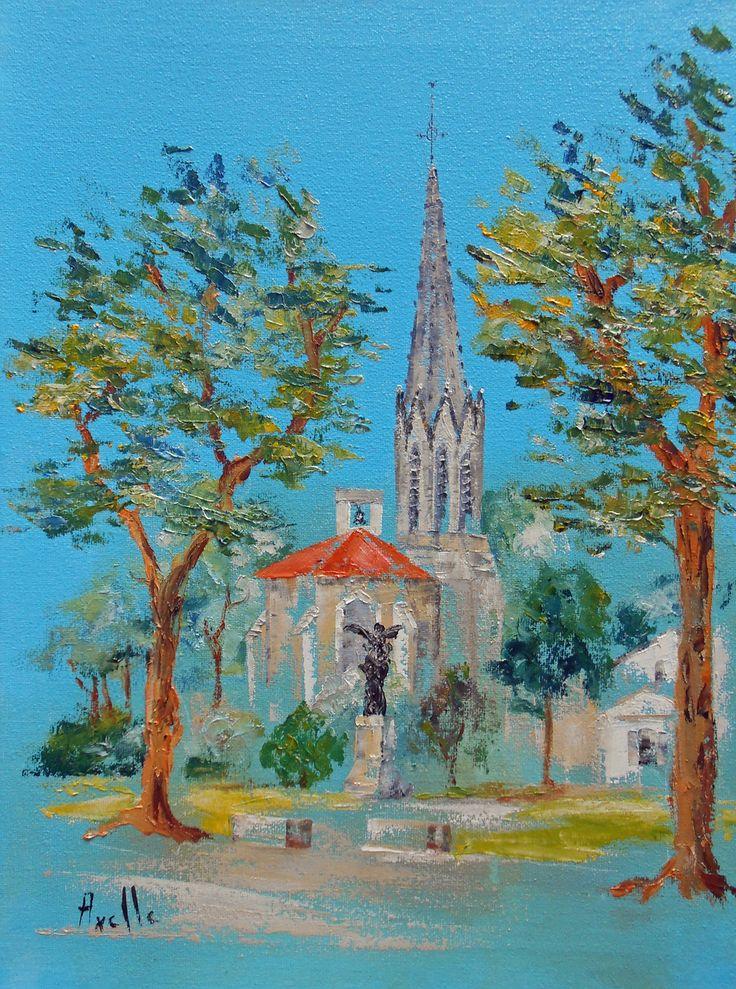 Tableau eglise de biscarrosse bourg peintures axelle for Tableau peinture