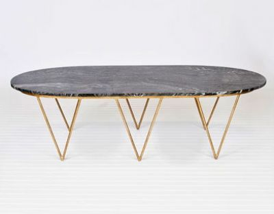 Surf Gold Leaf Coffee Table  Black Marble   Clayton Gray Home