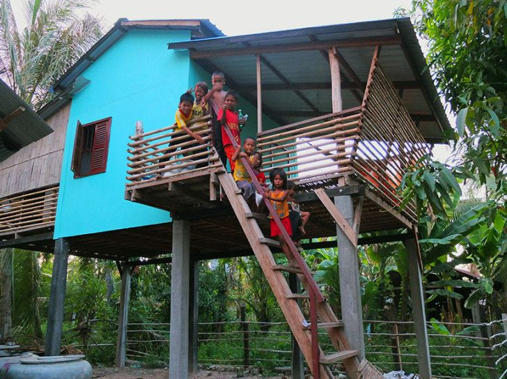 These site-specific houses by Habitat for Humanity were built using local labor and sustainable building techniques to keep its environmental footprint, construction costs, and maintenance costs to a minimum.