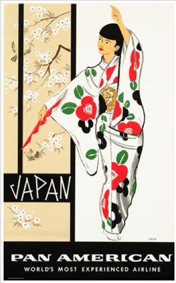 Vintage travel poster - Japan via Pan Am