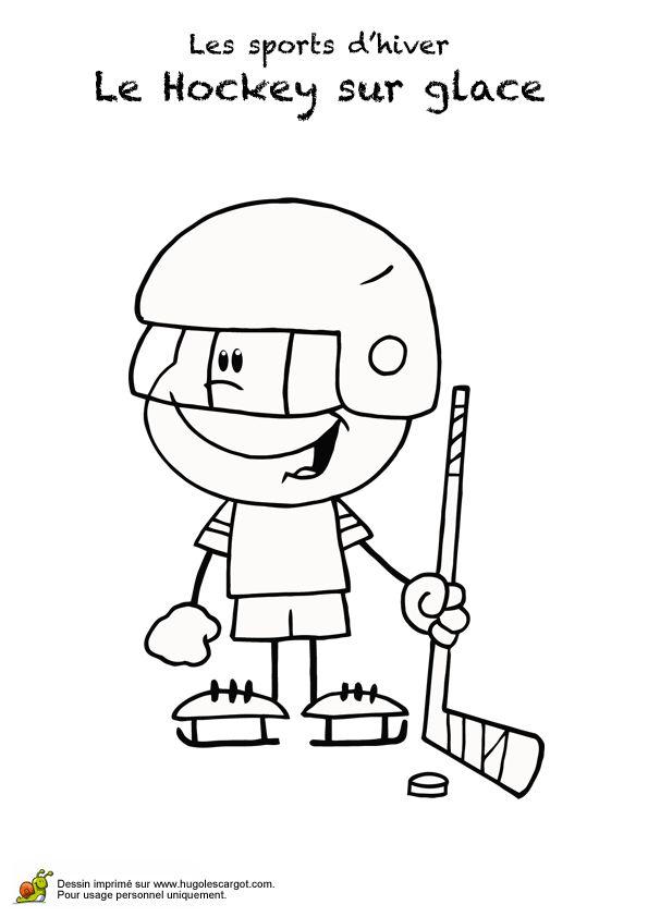 Coloriage d'un dessin d'un petit garçon avec son casque, son palet et son crosse de hockey