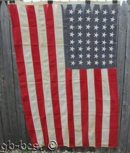 Antique 48 Star American USA Flag Patriotic Estate Find