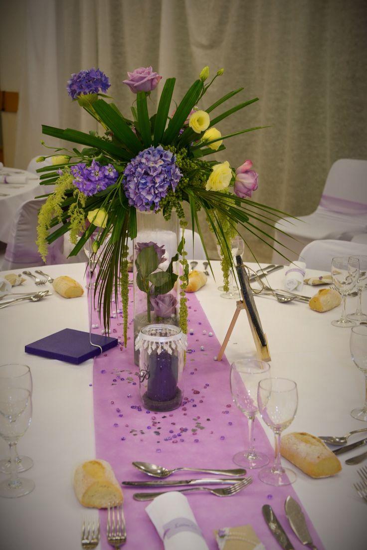 centre table fleurs haut pour mariage romantique avec. Black Bedroom Furniture Sets. Home Design Ideas