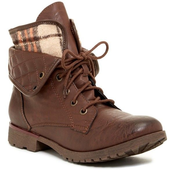 Rock & Candy Spraypaint Lace Combat Boot ($40) ❤ liked on Polyvore featuring shoes, boots, ankle booties, brown faux, army boots, low heel booties, combat booties, brown booties and brown lace up boots