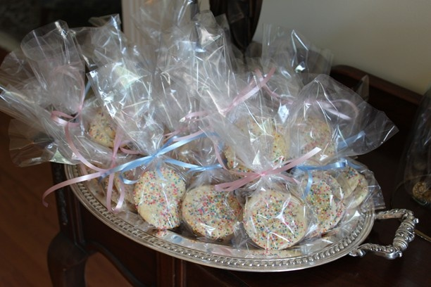 "Favor for ""Baby Sprinkle shower"" or kids party - individually wrapped sugar cookies with sprinkles :)."