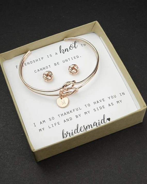 Personalized Initial Knot Bracelet Monogram Bridesmaid Proposal Will You Be My Gift Tie The Earrings Rose Gold Available In High