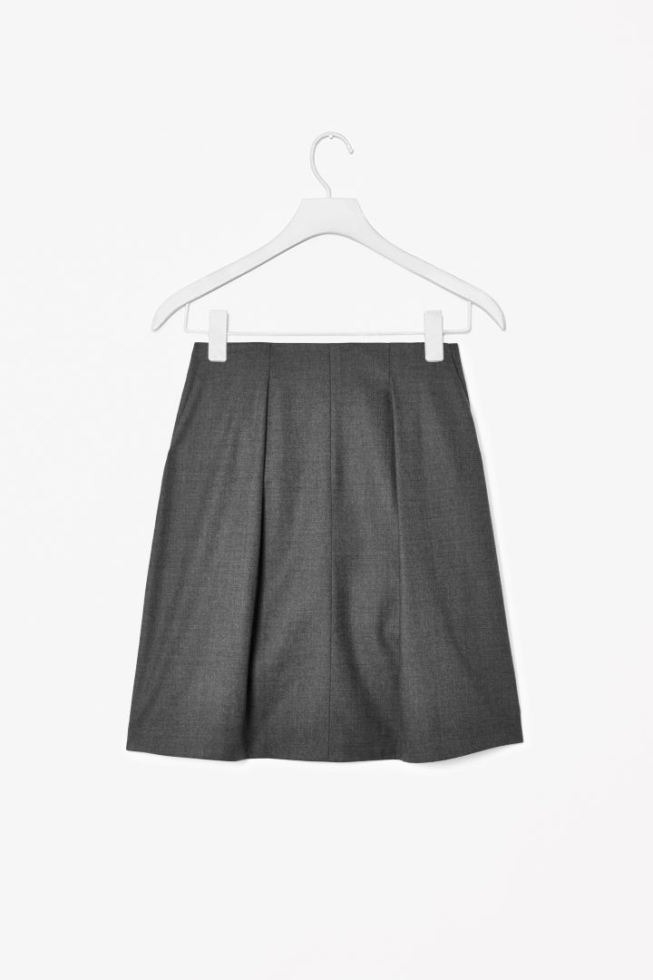 Wool-mix pleat skirt