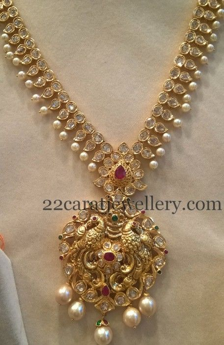 Jewellery Designs: 80 Grams Pachi Mala with Jhumkas