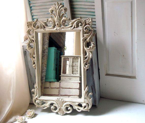 Antique White Vintage Ornate Mirror Off Large Hollywood Regency Light