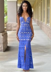 Skyler Royal-Blue Lace Nude Illusion Front Slit Dress