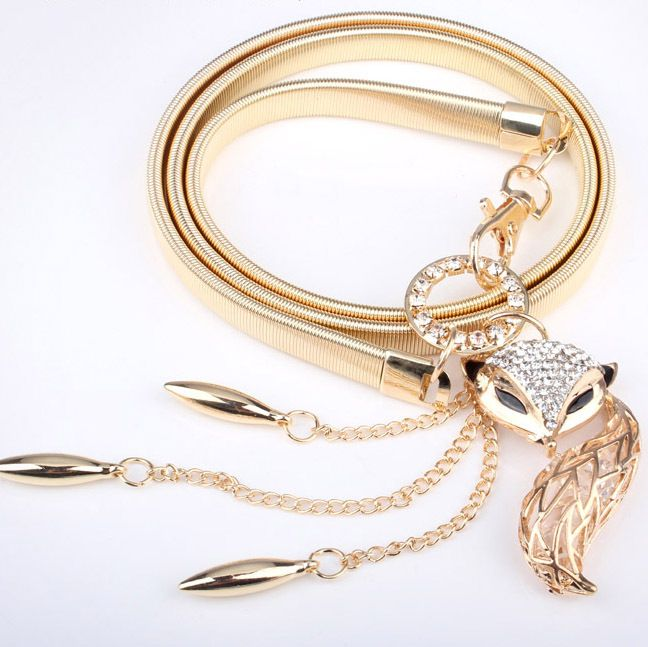 Fox & horse waist thin chain belt for women fashion all-match elegant young girl rhinestone jewelry gold silver belt