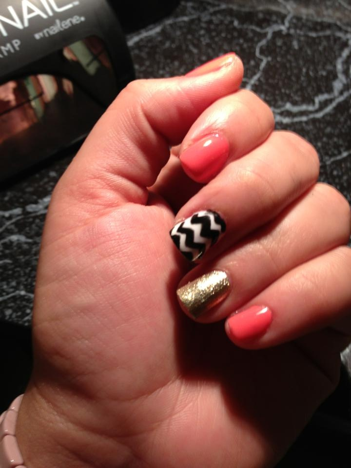Sorority nails to a T. The best combo! Love gold, coral and chevron :)