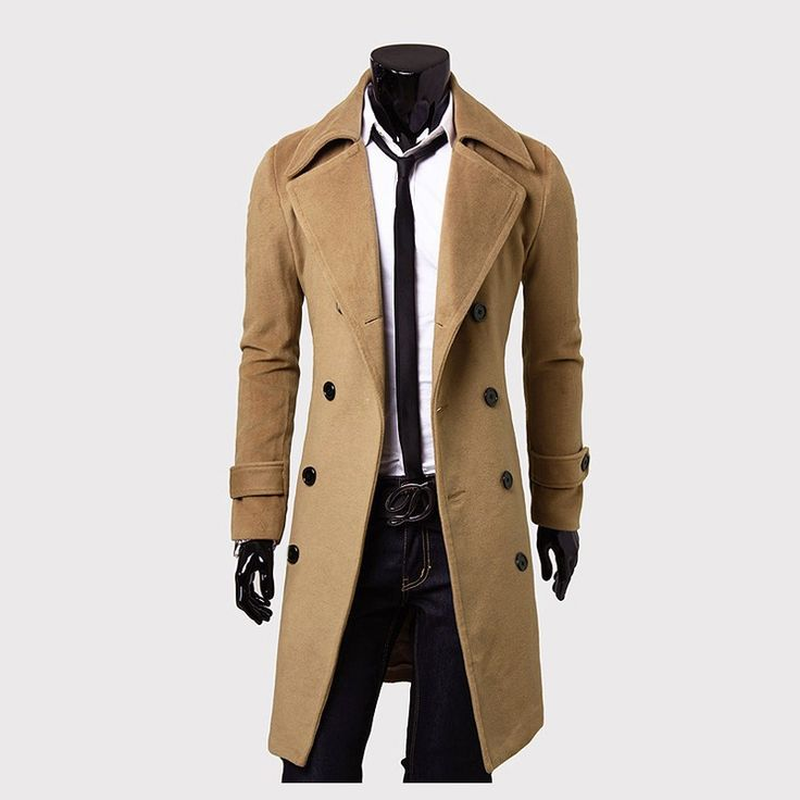 Male Men's Winter Wool Breasted Long Overcoats Jackets #CLICK! #clothing, #shoes, #jewelry, #women, #men, #hats