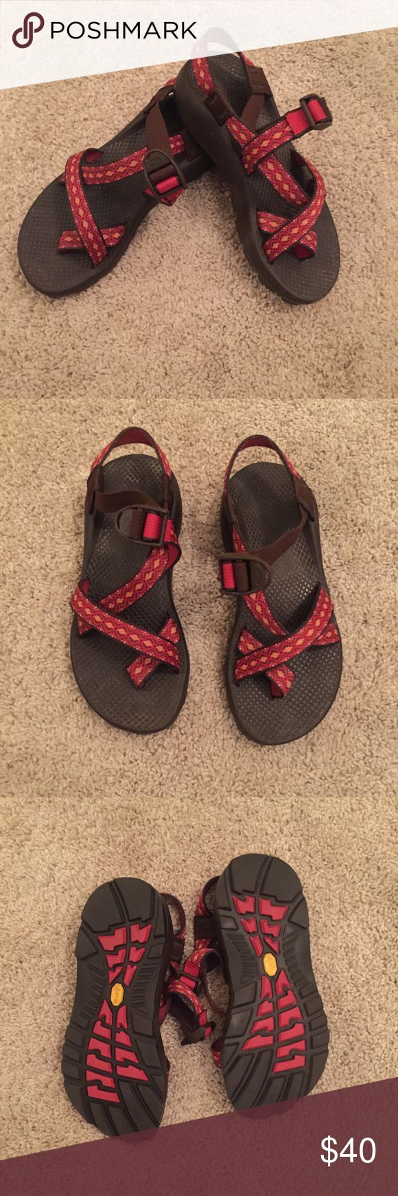 Women's Chacos Women's Size 7 Chacos. One strap. In good condition. Red yellow and orange.  Has brown sole. These are great shoes for the outdoors. Chacos Shoes Sandals