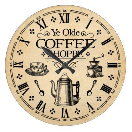 Vintage Coffee Shop Large Clock  $32.15  by Chaste_Moon_Designs  - custom gift idea