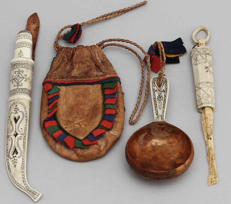 Sami knife, coffee bag, kåsa (drinking vessel) and needle case; Sweden.