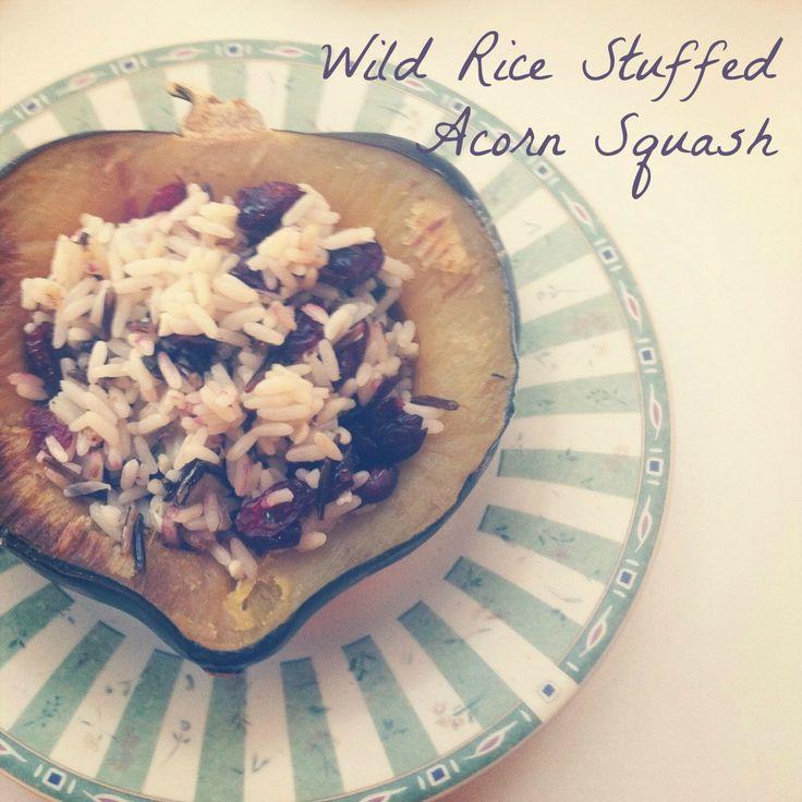 Wild Rice Stuffed Acorn Squash Recipe #vegetarian