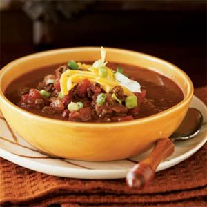Easy Elk Chili | MyRecipes.com. Can substitute Ground Buffalo which has twice the protein and 1/3 less saturated fat of Beef.