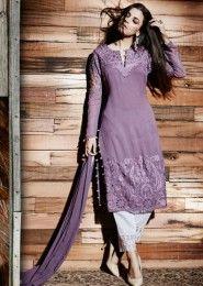 Reception Wear Purple Georgette Heavy Embroidery Work Straight Suit