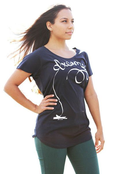 Dreamer Typography Tee O'Shirt raising awareness and funds for charities. Designer t-shirt, navy tee, life giving clothes
