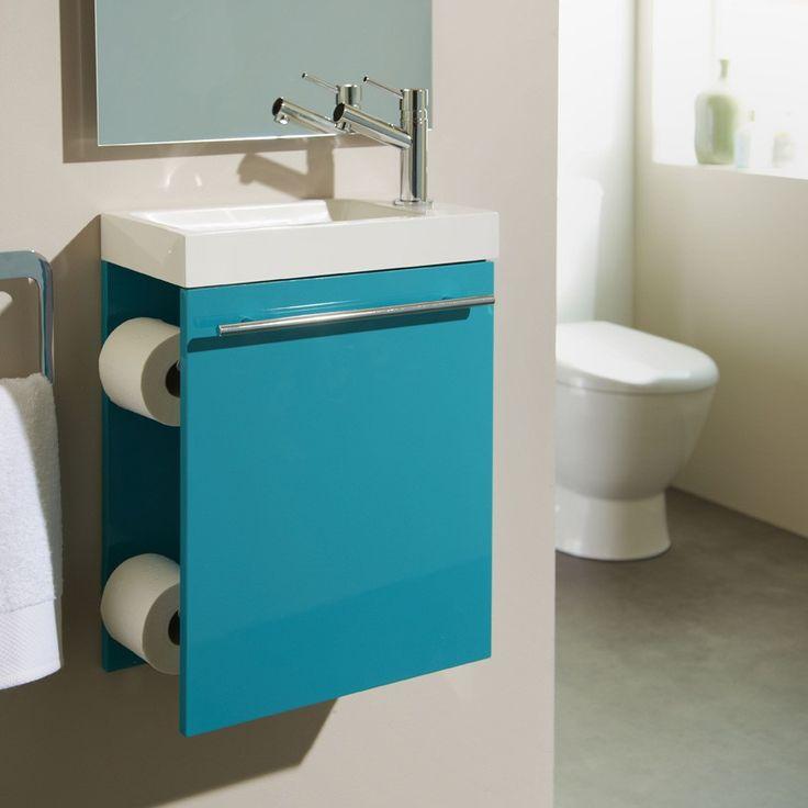 Nouveauté ! Meuble lave-mains bleu chlorophylle distributeur papier WC #meuble