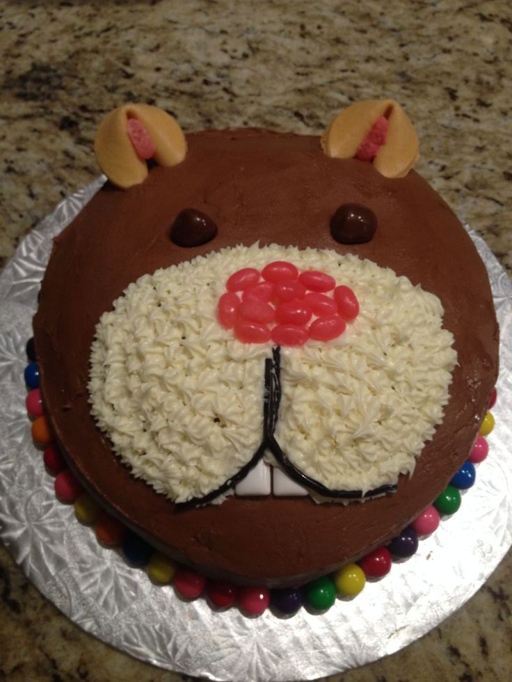 My 7 year old daughter wanted a hamster party and asked me to make a Hamster cake. This is what I came up with. It also happens to look like a beaver or a bear!