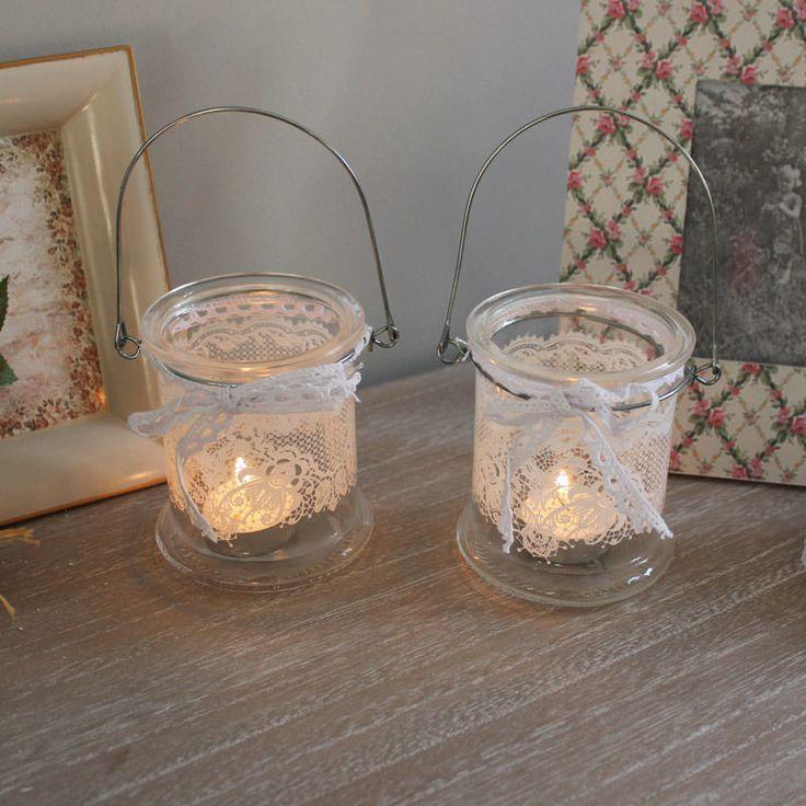 Set da 2 brocca di vetro portacandele matrimonio giardino di casa shabby chic | eBay